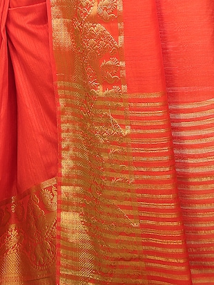 red art silk bordered saree with blouse - 15032851 - Standard Image - 3