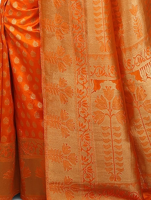 orange art silk kanjivaram saree with blouse - 15032853 - Standard Image - 3
