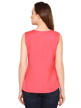 pink rayon wrap top - 15032881 - Standard Image - 3