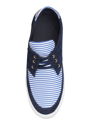 navy leatherette lace up sneaker - 15033423 - Standard Image - 3
