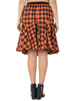 orange checkered cotton flared skirt - 15033458 - Standard Image - 3