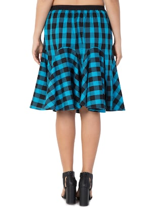 blue checkered cotton flared skirt - 15033459 - Standard Image - 3
