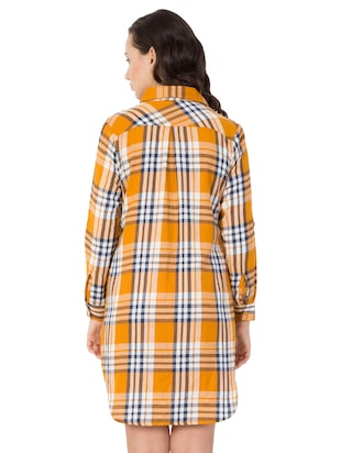 yellow checkered cotton shirt dress - 15033460 - Standard Image - 3