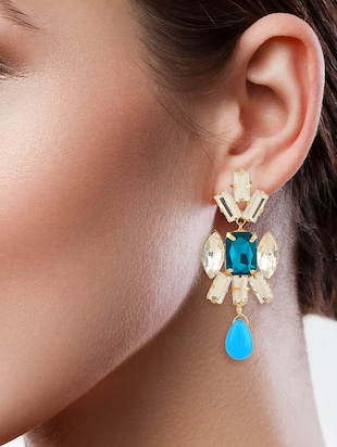 blue colored brass drop earring - 15033464 - Standard Image - 3