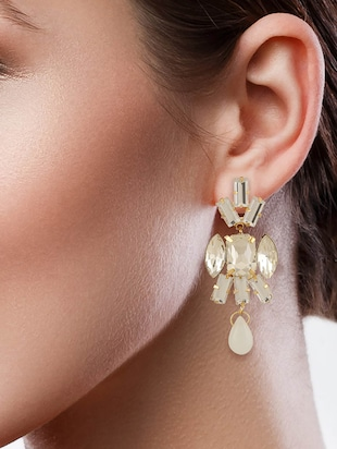 white colored brass drop earrings - 15033467 - Standard Image - 3