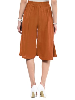 solid brown crepe culottes - 15033739 - Standard Image - 3