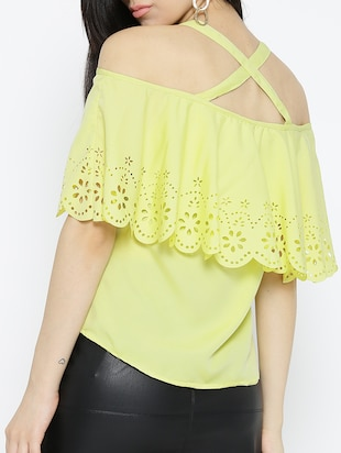 yellow solid cold shoulder top - 15034210 - Standard Image - 3