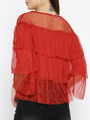 red solid layered top - 15034215 - Standard Image - 3