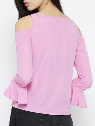 pink solid cold shoulder top - 15034229 - Standard Image - 3