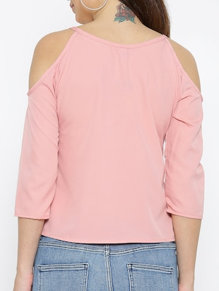 pink solid cold shoulder top - 15034264 - Standard Image - 3