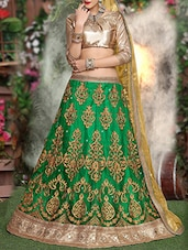 green net aline lehenga -  online shopping for lehengas