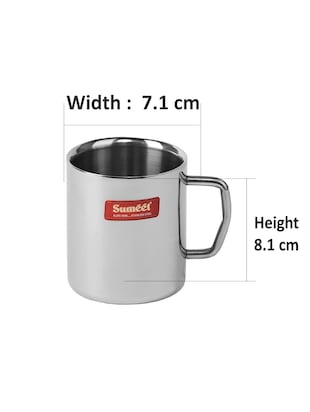 Stainless Steel Double Wall Tea And Coffee Mug Set Of 4pcs 210 Ml Each