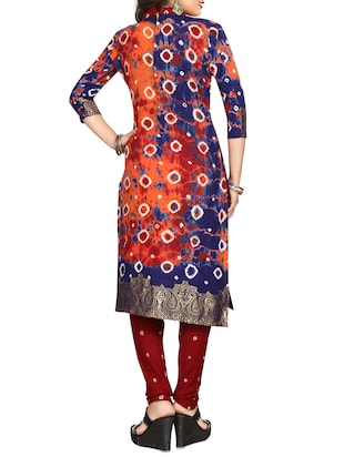 multi colored bandhani unstitched churidaar suit - 15047351 - Standard Image - 3