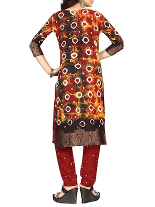 multi colored bandhani straight pant suit - 15047352 - Standard Image - 3