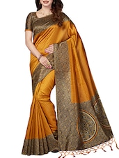 mustard art silk printed saree with blouse -  online shopping for Sarees