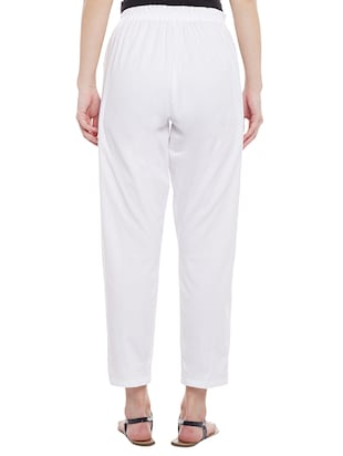 white solid cotton peg trouser - 15054072 - Standard Image - 3