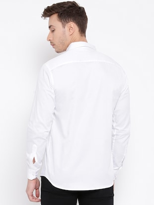 white cotton casual shirt - 15057547 - Standard Image - 3