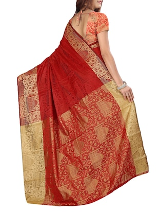 silk jacquard woven saree with blouse - 15076324 - Standard Image - 3