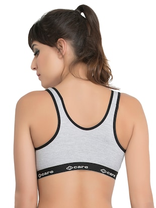 set of 3 grey solid hosery sports bra - 15082365 - Standard Image - 3