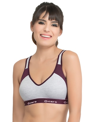 set of 3 grey solid hosery sports bra - 15082378 - Standard Image - 6