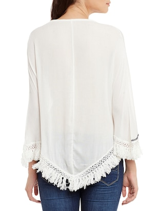 white cotton embroidered top - 15086407 - Standard Image - 3