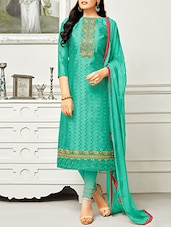 Blue cotton embroidered unstitched churidaar suit -  online shopping for Unstitched Suits