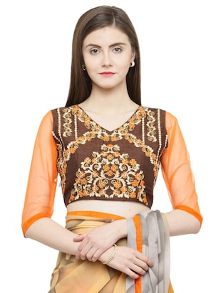 orange georgette printed saree with blouse - 15093252 - Standard Image - 3