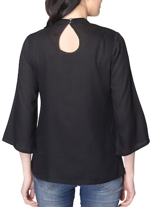 black solid rayon top - 15101707 - Standard Image - 3
