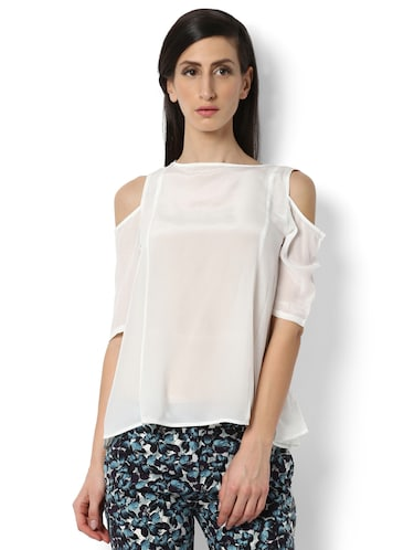 b7cc127573470 Buy Cold Shoulder Boat Neck Top for Women from Van Heusen for ₹545 ...