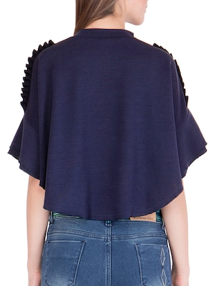 navy blue solid cape sleeved top - 15108554 - Standard Image - 3