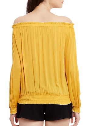 solid yellow cotton blouson top - 15108579 - Standard Image - 3