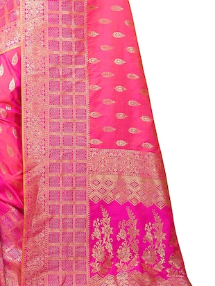 pink silk woven saree with blouse - 15110246 - Standard Image - 3