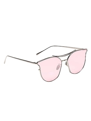 Cat-Eye Frames Round Sun-Glasses For Women Stylish Mirror - 15110852 - Standard Image - 3
