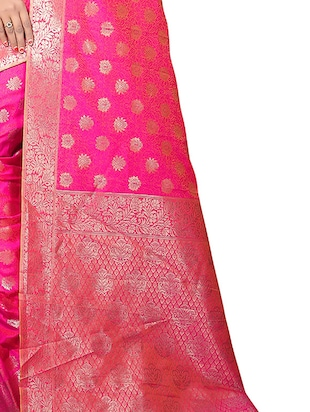 pink silk woven saree with blouse - 15111682 - Standard Image - 3