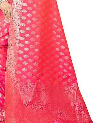 pink silk woven saree with blouse - 15112185 - Standard Image - 3