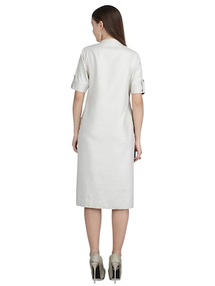 button detail a-line dress - 15113267 - Standard Image - 3