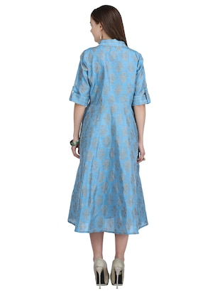 button down front flared dress - 15113287 - Standard Image - 3