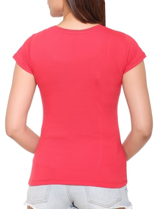 pink solid cotton tee - 15113456 - Standard Image - 3