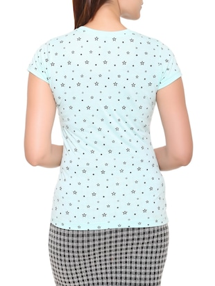 light blue printed cotton tee - 15113458 - Standard Image - 3