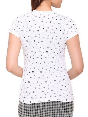 white printed cotton tee - 15113459 - Standard Image - 3
