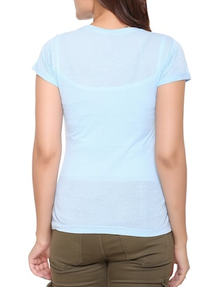 light blue printed cotton tee - 15113462 - Standard Image - 3