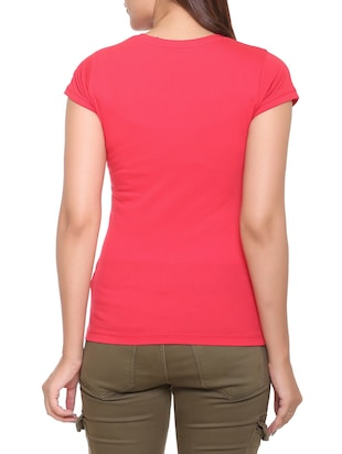 red printed cotton tee - 15113467 - Standard Image - 3