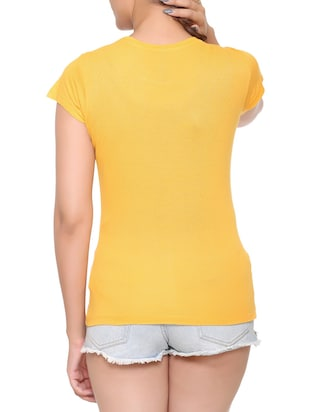 yellow printed cotton tee - 15113469 - Standard Image - 3