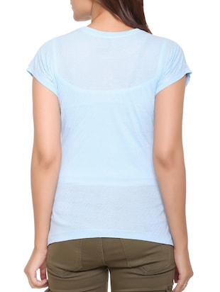 light blue printed cotton tee - 15113475 - Standard Image - 3