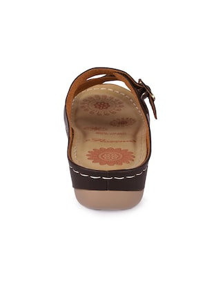 brown faux leather slippers - 15113658 - Standard Image - 3