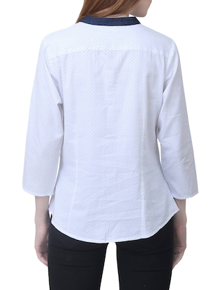 white cotton polka dotted shirt - 15114751 - Standard Image - 3