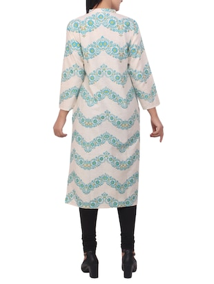white cotton straight kurta - 15114852 - Standard Image - 3