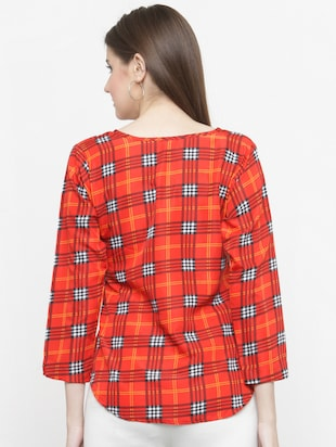 orange checkered crepe top - 15115068 - Standard Image - 3