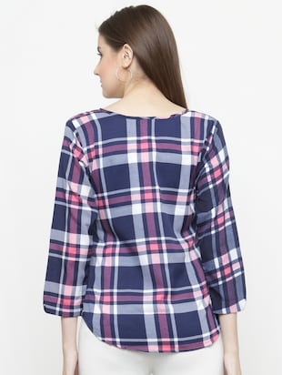 blue checkered crepe top - 15115069 - Standard Image - 3