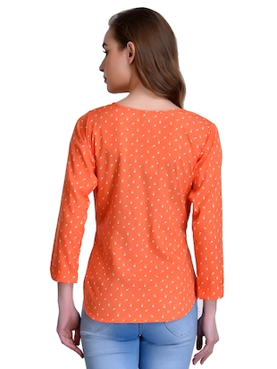 orange printed crepe top - 15115233 - Standard Image - 3